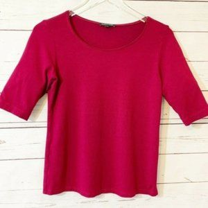Eileen Fisher Rayon Red Wine 3/4 Sleeve Top